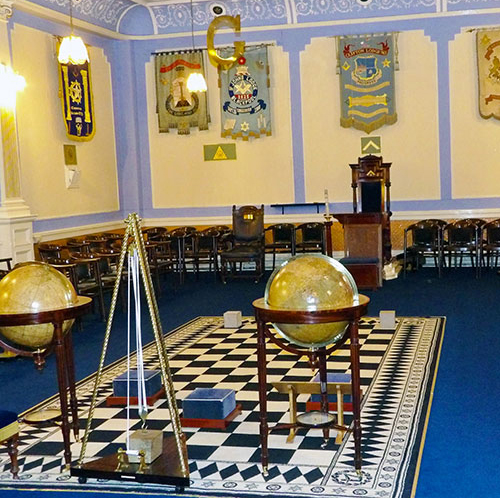 The upper lodge room at the Masonic Hall.
