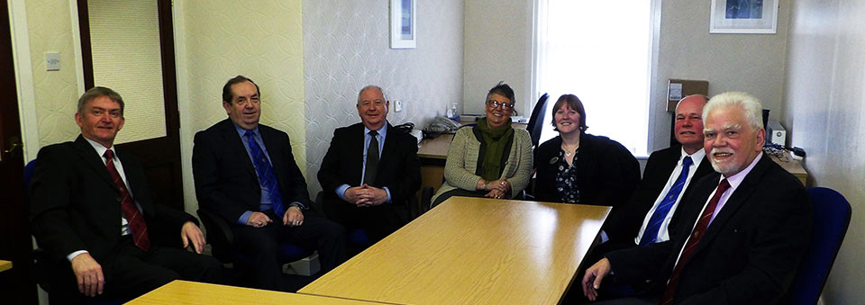 Pictured from left to right, are: Ian Stirling, John Turpin, Harry Cox, Denise Boehme, Laura Cooper, Duncan Smith and David Randerson.