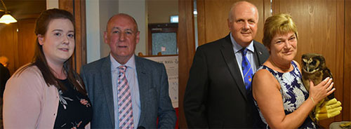 Pictured left: Gemma Gerrish and Barrie Bray. Pictured right: David and Sue Winder.