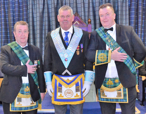 The WM John Eccles (centre) pictured with the brethren of Lodge Caledonian; William Innes (left) and WM John Baird (right).
