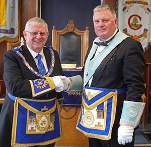 Stewart (left) congratulates Gowan on his preferment