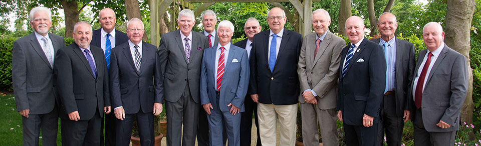 What a tribute! Pictured from left to right, are: David Randerson, Chris Butterfield, David Winder, Keith Kemp, Tony Harrison, Paul Renton, Jim Wilson, Stuart Seddon, Phil Gunning, Peter Hosker, David Grainger, David Walmsley and Harry Cox.