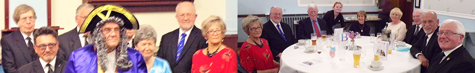 Left: Dave Burgess as the 'herald'. Right: Brethren and guests enjoy the festive board