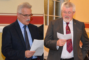 Pictured left: John Walkey proposing the toast to Paul Renton. Pictured right: David Barr proposing the toast to the Warrington Group.
