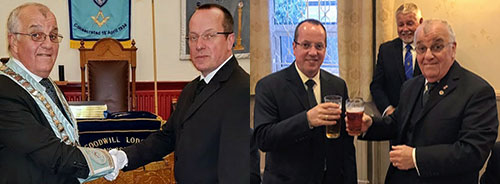 Left: John Horn (left) congratulates Robert Smith. Right: John toasts Roberts health.