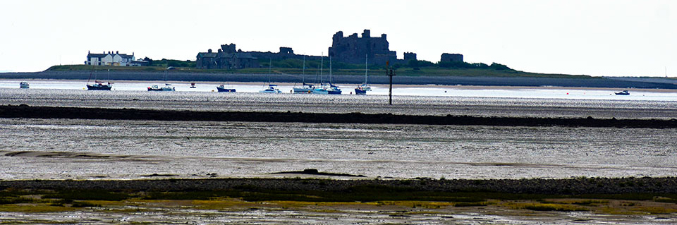 Piel Island and castle from Cavendish Dock at low tide.
