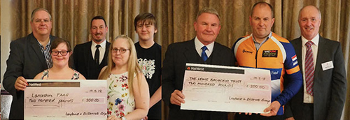 Pictured left from left to right, are: Neil Ward, Leanne Corless (receiving the cheque for Lancashire TAAG) and Ian Hainsworth. Pictured right: Mike Pinckard, Kevin Balyckyi (receiving the cheque for The Lewis Balyckyi Trust Fund) and Stephen Lunt.
