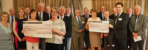 Pictured left: Elaine Close receives the cheque for Meningitis Now. Pictured right: Mick Croskery receives the cheque for Derian House.