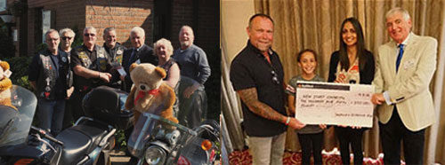 Pictured left: The Widows Sons Masonic Bikers presenting a cheque to Bob Olive of Teddies for Loving Care. Pictured right: Carl Daggers (left) and Chris Blackwell present a cheque to Natalie Kerr and her little helper for New Start Charity.