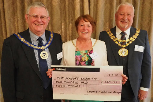 Pictured from left to right, are: Stewart Seddon with Shirley and John Rainsbury receiving a cheque for the Mayor's chosen charities.