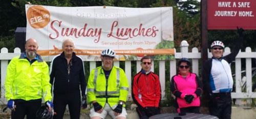 A long wait for lunch at the Old Trooper, from left to right, are: Tony Farrar, Pete Williams, Steve Walls, Chris Bruffell, Angie McShane and Gordon Sandford.