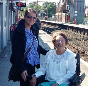 Amber Chislett (left) and Pat Anderson waiting for the London train at Runcorn Station.