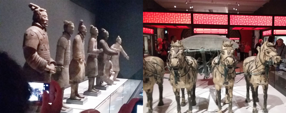 Terracotta warriors and horses on show at the Liverpool Museum.