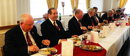The top table enjoyed the sumptuous festive board. Pictured from left to right, are; Harry Cox, John Turpin, Duncan Smith, Tony Harrison, Denis Askham, Jimmy Rogers, Granville Coxhill, Kevin Ricketts, Jonathan Selcoe and David Barr.