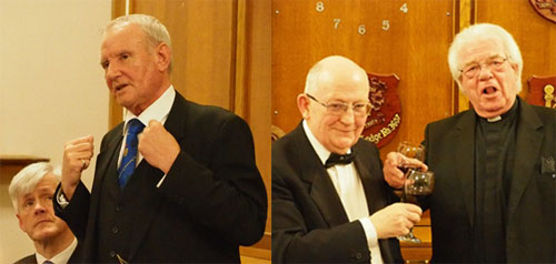 Pictured left: David Walmsley responding to the toast to the grand officers, keenly observed by Ian Ward. Pictured right: Godfrey Hirst (right) singing the master's song to John Davies.