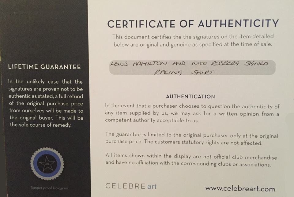 The certificate of authenticity.