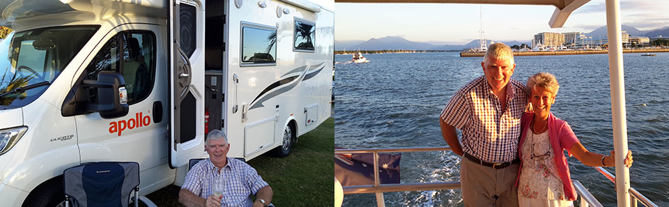 Picture left: Our 'home' during our 'Aussie Coastal Adventure'. Picture right: A relaxing dinner cruise around Cairns harbour.