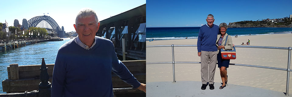 Picture left: By the harbour in Sydney with the famous landmark in the background. Picture right: We just couldn't miss visiting Bondi Beach!
