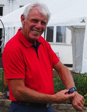 Brian Newman shows off his modern watch.