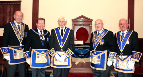 Pictured from left to right, are: Gordon Amos, Kevin Poynton, Jim Allardice, Dennis Rudd and Stephen Clarke.