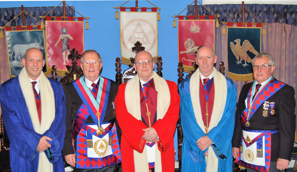 Pictured from left to right, are: Mike Fox, Colin Rowling, Alan Routledge, Ian McGovern and Mike Cunliffe.