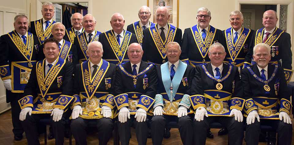 The grand officers in attendance with Chris Band wearing his collar as WM.