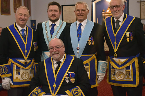Pictured from left to right, are; Onward Lodge members in foreground Paul Dunne, rear Alan Lock, Adam Simpson, Chris Band and Ken Hart.