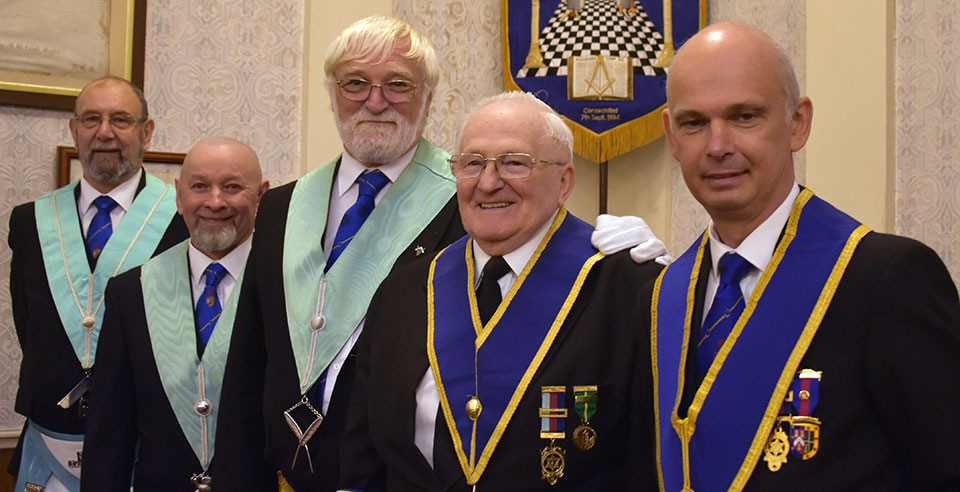 Pictured from left to right, are: Terry Ridal, Brian McKenna, Harry Gilgour, Walter Phillipson and group secretary Alan Pattinson.