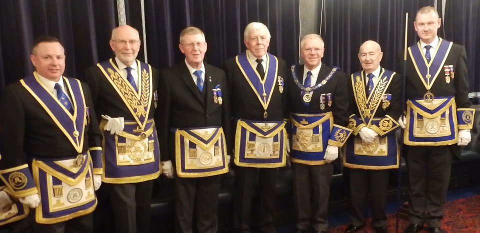 Pictured from left to right, are: Harry White, John James, Ray Christian (WM), Ian Wilkinson, Derek Parkinson, Freddie Wright and Ian Halsall.