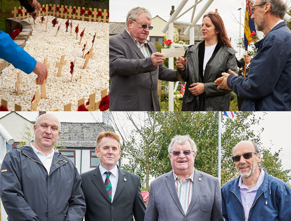 Pictured top left: Wheelchair friendly remembrance garden. Top right: Len Hart (left) accompanied by David Case present Linda Fisher with £1,000. Pictured bottom from left to right, are: Tom Houston, Peter Deluce, Len Hart and David Case
