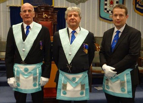 Pictured from left to right, are the 'light blue' brethren who presented the working tools: Richard Sheppard, Keith Carter and Peter Willingham.