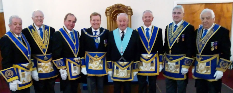 Pictured from right to left are: Steve Clarke, John Roberts, Graham Chambers, Kevin Poynton, Phil Stansbie, Nigel Kent, Martin Walsh and Malcolm Alexander.