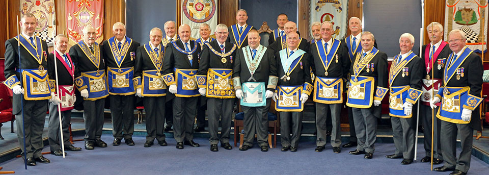 Phillip (centre) with a vast array of distinguished guests.