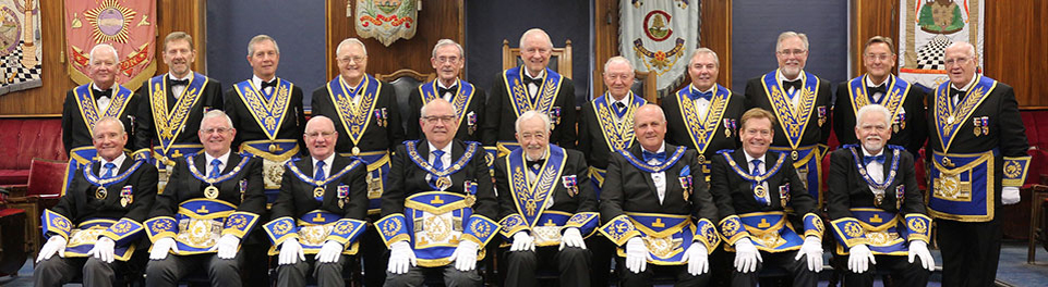 Tom Blackburn sat front centre surrounded by many senior and former senior members of the Province.