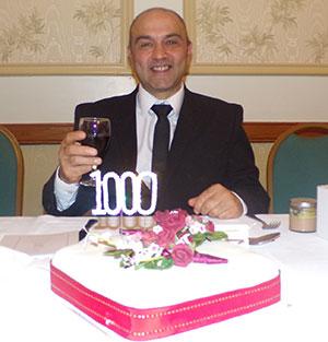 Steve shows off the celebratory cake.