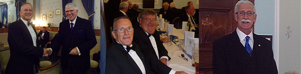 Picture left: Tony meets with the brethren. Picture centre: Brethren enjoying the festive board. Picture right: John Karran in full flow.
