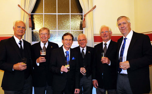 Brian's personal guests, from left to right, are: Michael Stanistreet, Brian Durkin, Brian Wilson, Roger Watts, Brian Herring and Stephen Derringer.