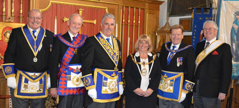 Pictured from left to right, are: Chris Gleave, Barry Jameson, Andy Barton, Cllr Karen Mundry (Mayor), Kevin Poynton and Ian Clark.