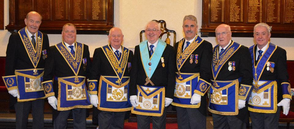 Pictured from left to right, are: Gordon Amos, Chris Eyres, Harry Cox, Kevin Hickman, Andy Barton, Dennis Rudd and Stephen Clark.