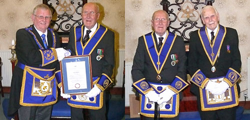 Picture left: Stewart Seddon (left) and Jim Bolton. Picture right: Jim Bolton (left) and his proposer William Carr.