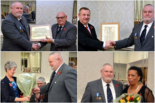 Top left: Gary Smith (left) presenting a plaque to Malcolm Dewhurst. Top right: Peter Lockett (left) with Gary Smith. Bottom left: Maureen Harrison with Gary Smith. Bottom left: Gary Smith presenting flowers to Lynne Price.