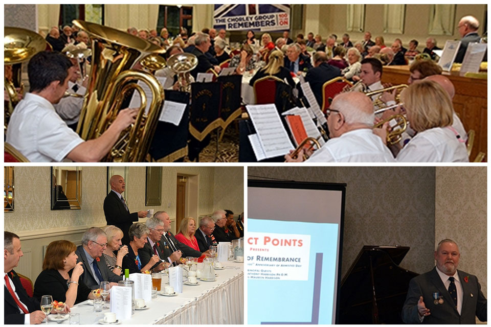 Top: The Lostock brass band. Bottom left: Mark Howard discussing wartime food. Bottom right: Gary in full flight