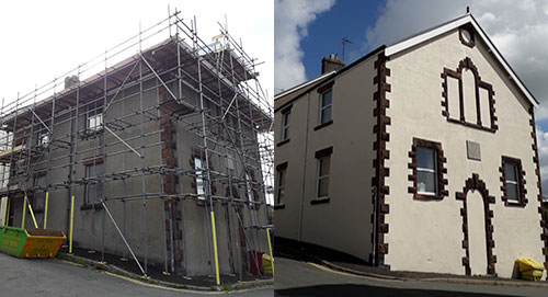 Picture left: The exterior of the hall before painting. Picture right: The exterior of the hall after painting.