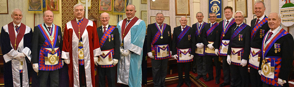 Picture left: From left to right, are; Les Preston, Duncan Smith, Barrie Crossley, Jim Scott and Steve Ellershaw. Picture right: From left to right, are; John Newton Stanley, David Dryden, David Ozanne, Stuart Dickinson, Peter Schofield, Owen Osmotherley, Alan Hilton and Alan Jones.