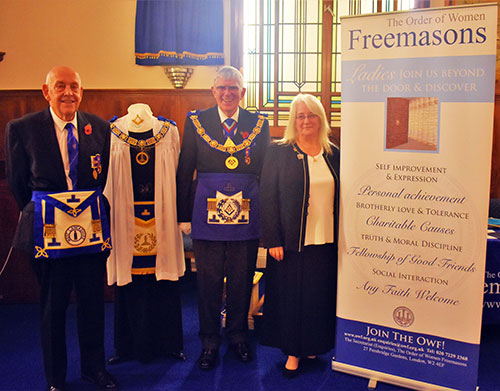 Pictured from left to right, with Geraldene's regalia on display are; Bill Edmonds, Tony Harrison and Geraldene Greenhalgh.