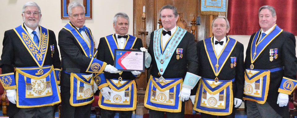 Pictured from left to right at the presentation of the MCF 2021 Festival patron's certificate, are: John Robson, Simon Hanson, Ian Modley (lodge charity steward), Jim Hamilton, John Clare and Neil McGill.