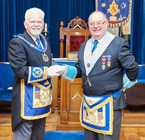David Randerson (left) congratulates Brian Brittain.