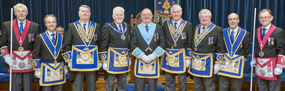 Brian with the Provincial team and grand lodge officers.