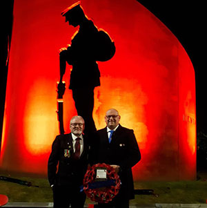Alan Welburn (left) and Dave Bishop of Leyland St Andrew's Lodge No 7391 stood at the Farington Memorial.