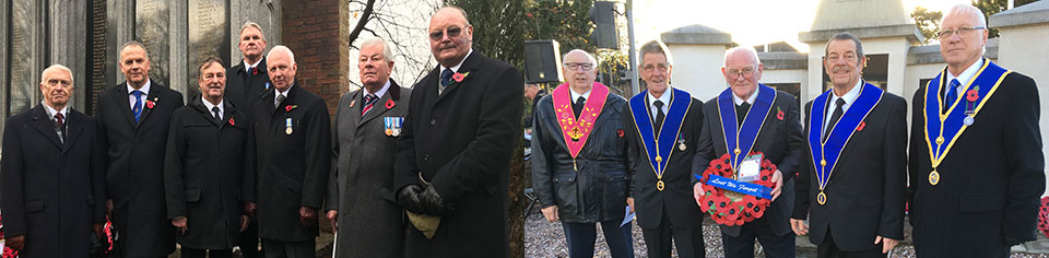 Picture left: Members of the Leyland Group standing at the Leyland Cenotaph having laid a wreath for the fallen. Picture right: Euxton Lodge contingent at the Euxton Memorial.